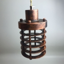 Industrial Mini Pendant Light with 3.94''W Metal Cage, Copper