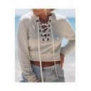 Fashion Lace-Up Front Long Sleeve Round Neck Plain  Cropped Pullover Sweatshirt