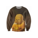 Fashion 3D Character Print Round Neck Long Sleeve Pullover Sweatshirt