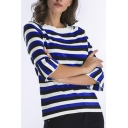 Color Block Striped Flared Half Sleeve Pullover Sweater
