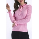 Chic Simple Plain Ruffle Hem Bow Front Long Sleeve Slim Sweater
