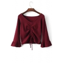 Chic V-Neck Half Bell Sleeve Draped-Front Plain Soft Pullover Sweater with Drawstring