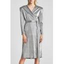 Simple Plain V-Neck Long Sleeve Tie Waist Wrap Midi Dress