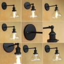 Industrial Simple Wall Sconce with 7.09''W Clear Glass Shade