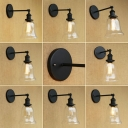 Industrial Wall Sconce with 6.5''W Bell Shape Glass Shade