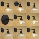 Industrial Wall Sconce with 8.46''W Dome Ribbed Glass Shade