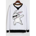 Cute Contrast Trimmed Round Neck Rabbit Pattern Long Sleeves Pullover Sweatshirt