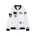Chic Mickey Mouse Embroidered Stand-Up Collar Long Sleeve Zipper Jacket