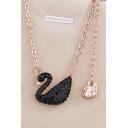 Elegant Blinking Swan-Shaped Beaded Necklace