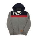 New Arrival Leisure Color Block Panel Zippered Long Sleeve Hoodie