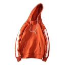Fashionable Color Block Print Long Sleeve Drawstring Hood Unisex Hoodie