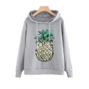 New Stylish Pineapple Print Drawstring Hood Long Sleeve Hoodie