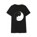 New Fashion Simple Cartoon Print Round Neck Short Sleeve Tee
