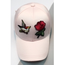 New Stylish Embroidery Floral Bird Pattern Outdoor Baseball Cap