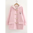 Fashion Cute Bear Embroidered Single Breasted Tunic Hooded Coat
