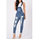 New Fashion Ripped Out Denim Jumpsuit