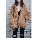 New Fashion Simpel Plain Lapel Zip Up Long Sleeve Wool Coat