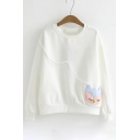 New Stylish Cartoon Patchwork Round Neck Long Sleeve Pullover Sweatshirt