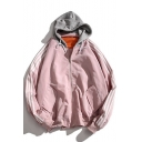 New Fashion Color Block Striped Zip Placket Long Sleeve Hooded Baseball Coat