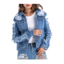 Stylish Collared Long Sleeve Ripped Denim Jacket