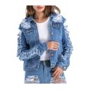 Stylish Collared Long Sleeve Ripped Denim Jacket