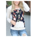 New Fashion Floral Pattern Round Neck Long Sleeve T-Shirt