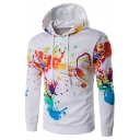 New Stylish Color Block Print Drawstring Hood Long Sleeve Hoodie