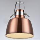 Industrial Pendant Light with 9.06''W Metal Shade in Copper Finish