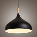 Industrial Pendant Light with 12.6''W Dome Shade, Black/White