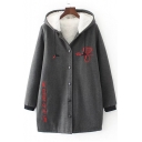 New Stylish Letter Pattern Long Sleeve Single Breasted Tunic Hooded Coat