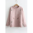 Chic Floral Embroidered Round Neck Long Sleeve Sweater