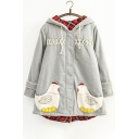 New Trandy Leisure Chicken Patchwork Long Sleeve Cotton Hooded Coat