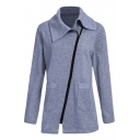 New Stylish Long Sleeve Lapel Zipper Simple Plain Coat