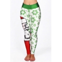 Fashionable Christmas Santa Snowflake Print Elastic Waist Ankle Leggings
