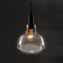 Industrial Mini Pendant Light with 6.69''W Grey Glass Shade