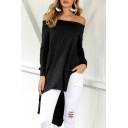 New Stylish Off Shoulder Long Sleeve Simple Plain Asymmetric Hem Tee