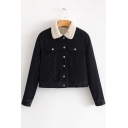 New Fashion Leisure Contrast Lapel Long Sleeve Buttons Down Fur Coat