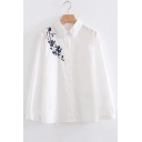 Chic Floral Embroidered Lapel Long Sleeve Buttons Down Shirt