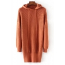New Stylish Long Sleeve Drawstring Hood Simple Plain Sweater Dress