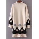 New Stylish Color Block Geometric Print Ruffle Trim Long Sleeve Knitted Dress