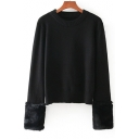 Chic Round Neck Long Sleeves Faux Fur Cuffs Pullover Knitted Sweater