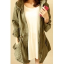 Simple Plain Hooded Drawstring Waist Zip Up Long Sleeve Coat