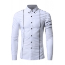 Men's Fashion Stand-up Collar Long Sleeves Stripes Button-Down Slim-Fit Shirt