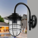 Industrial Wall Sconce with Metal Cage and Glass Shade, Black