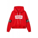 New Stylish Drawstring Hood Long Sleeve Letter Print Hoodie