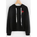 Chic Embroidery Rose Pattern Drawstring Hood Long Sleeve Hoodie