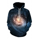 Cool Galaxy Pattern Long Sleeves Pullover Hoodie with Pocket
