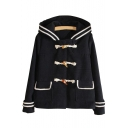 New Fashion Contrast Striped Single Breasted Long Sleeve Coat with Hood