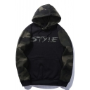 Chic Color Block Letter Print Drawstring Hood Camouflage Unisex Hoodie