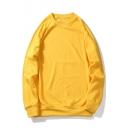 New Stylish Round Neck Long sleeve Simple Plain Unisex Pullover Sweatshirt